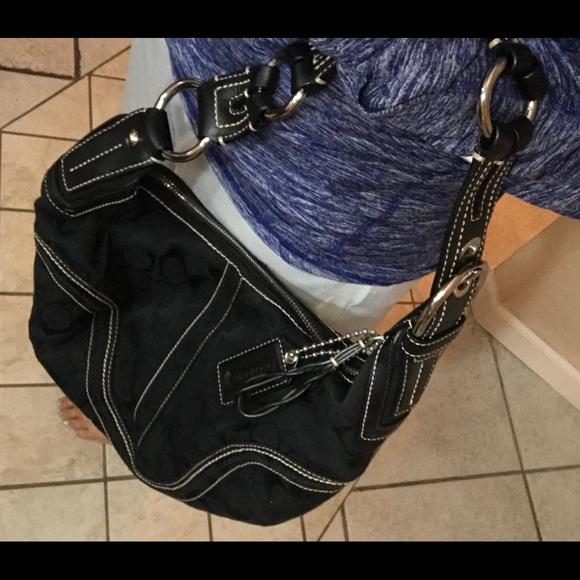 Coach Handbags - Coach Signature Black Zip Up Shoulder Bag